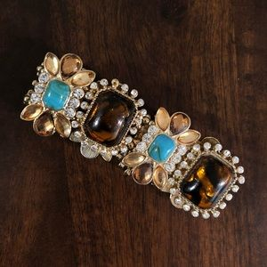 Jewelry - Gold bangle with brown and turquoise gem stones